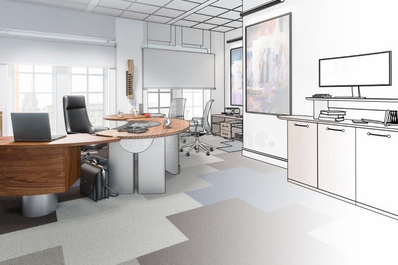 Het uitvoerende Office 02-trekken vector illustratie