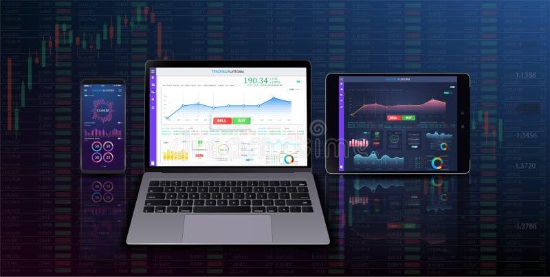 Het uitwisselen van kandelaargrafiek op elektronische apparaten vectorillustratie De grafiek van de beursmarkt op smartphone, stock illustratie