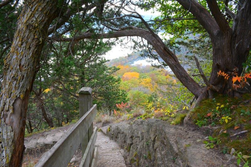 Het Uitzicht van de Brady` s Bluff Sleep - Perrot-het Park van de Staat stock foto's