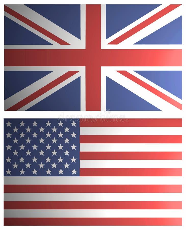 het UK en de V.S. In de schaduw gestelde Vlaggen royalty-vrije illustratie