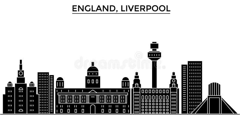 het UK Horizon van de de architectuur isoleerde de vectorstad van Liverpool, reiscityscape met oriëntatiepunten, gebouwen, gezich royalty-vrije illustratie