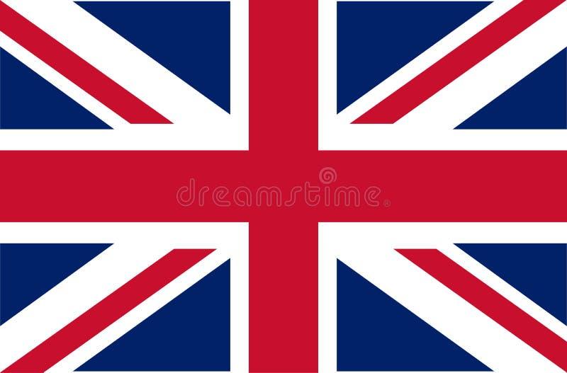 het UK Union Jack Vlag van het Verenigd Koninkrijk Officiële kleuren Correct aandeel Vector illustratie De Britse vlag vliegt in  stock illustratie
