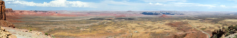 Het ultra brede panorama van de het scherm hoge onderzoek de V.S. woestijn stock fotografie