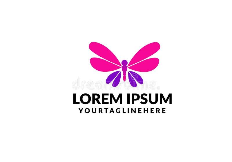 Het unieke malplaatje van het vlinderembleem eenvoudige vorm en kleur Vector editable stock illustratie
