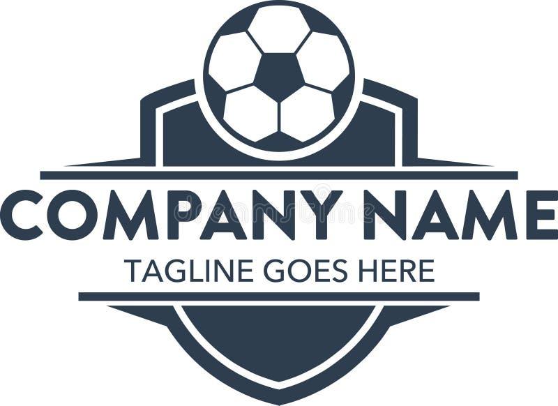 Het unieke malplaatje van het voetbalvoetbal verwante embleem Vector editable royalty-vrije illustratie