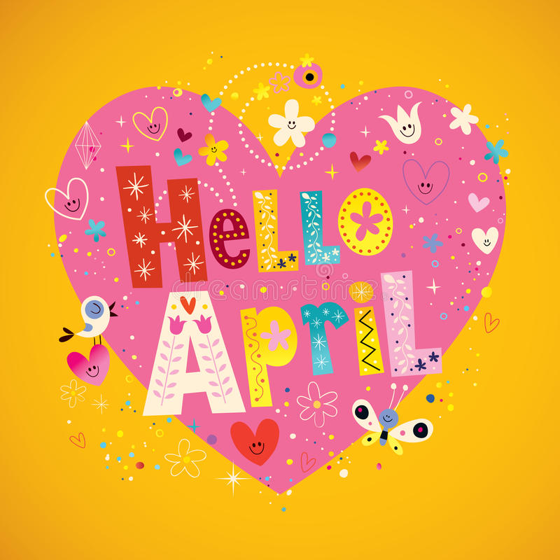 Het unieke van letters voorzien van Hello April met bloemen en harten de lenteontwerp vector illustratie
