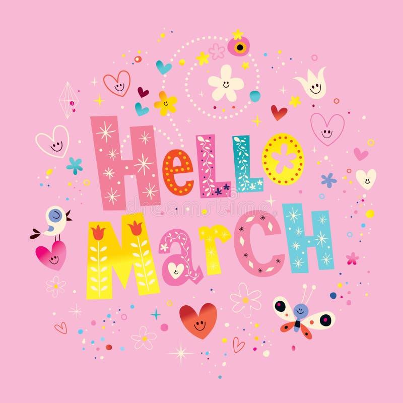 Het unieke van letters voorzien van Hello Maart met bloemen en harten de lentekaart vector illustratie