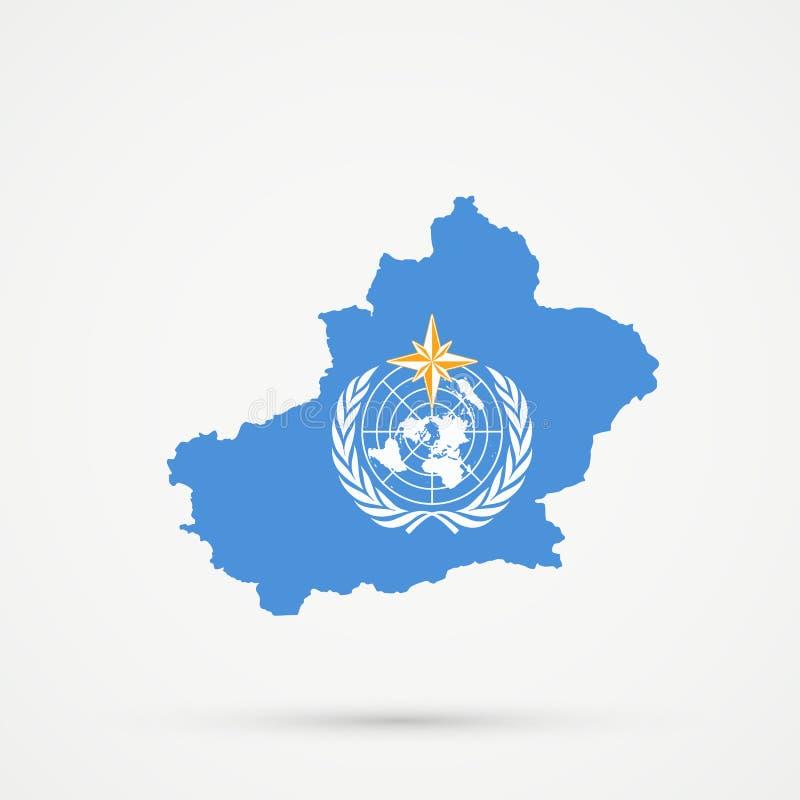 Het Uyghuristanoosten Turkestan, Xinjiang-kaart in de vlagkleuren van de Wereld Meteorologische Organisatie WMO, editable vector royalty-vrije illustratie