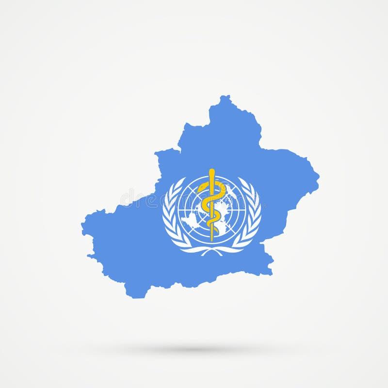 Het Uyghuristanoosten Turkestan, Xinjiang-kaart in de vlagkleuren van de Wereldgezondheidsorganisatiewgo, editable vector vector illustratie