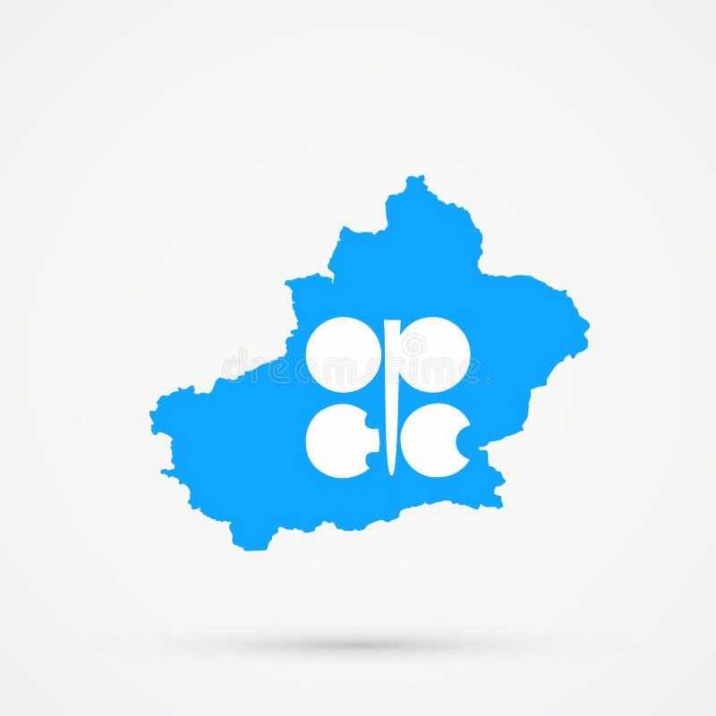 Het Uyghuristanoosten Turkestan, Xinjiang-kaart in Organisatie van de Olieuitvoerende editable de vlagkleuren van de OPEC van Lan stock illustratie
