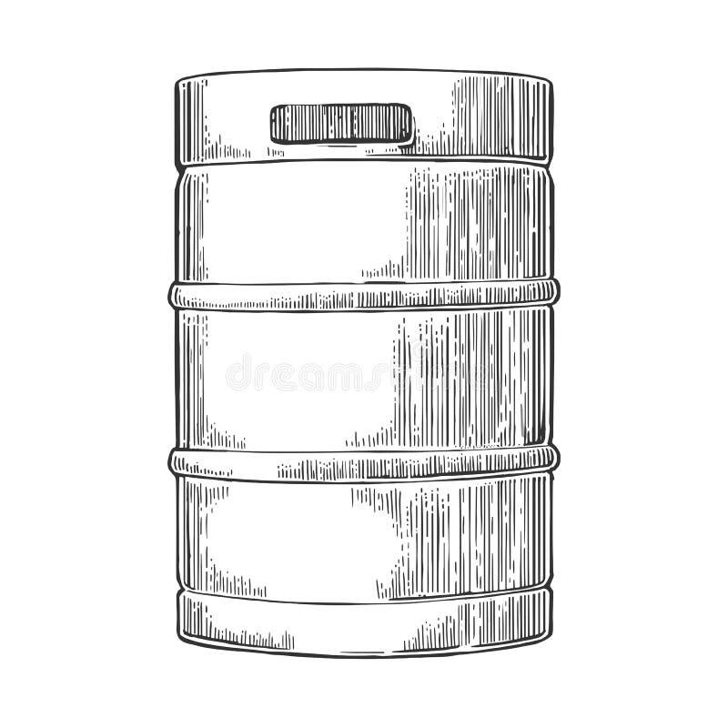 Het vaatje van het metaalbier stock illustratie