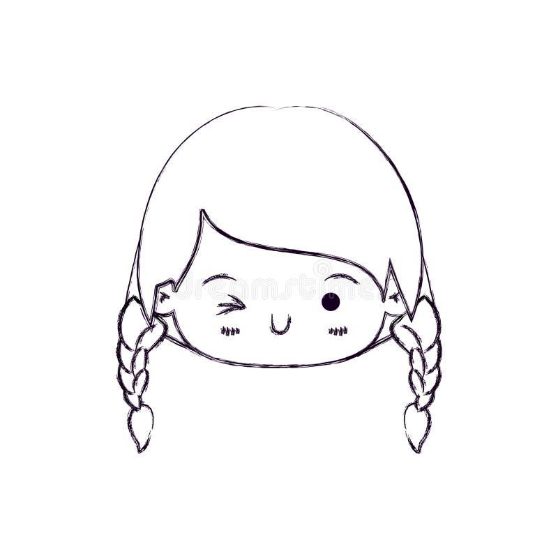 Het vage dunne silhouet van kawaii hoofdmeisje met gevlecht haar en de gelaatsuitdrukking knipogen oog royalty-vrije illustratie