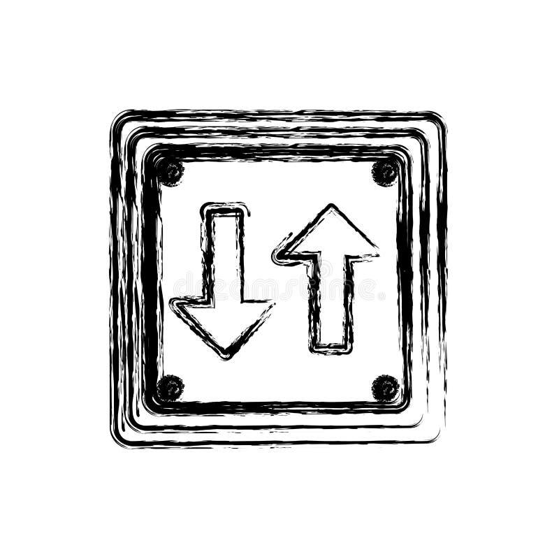het vage teken van het het kadertweerichtingsverkeer van de silhouet vierkante vorm royalty-vrije illustratie