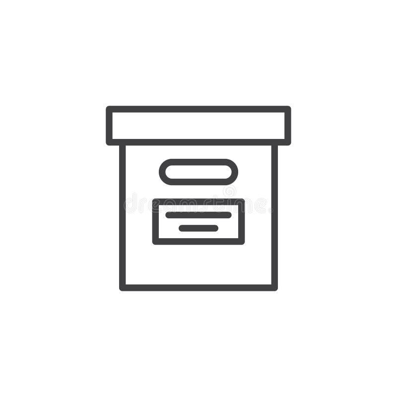 Het vakje van het bureaudossier lijnpictogram vector illustratie