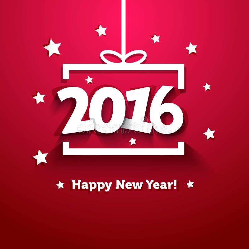 Het vakje van de Witboekgift met de kaart van de 2016 Nieuwjaargroet vector illustratie