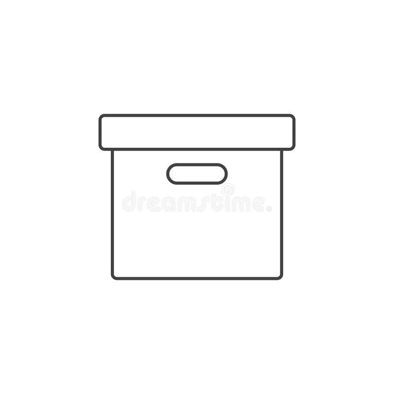 Het Vakje van het bureaudossier dun lijnpictogram, vector het embleemillu van het archiefoverzicht royalty-vrije illustratie