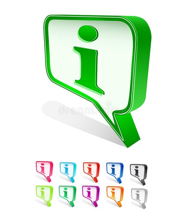 Het vakje van het praatje pictogram dat met infoteken wordt geplaatst vector illustratie