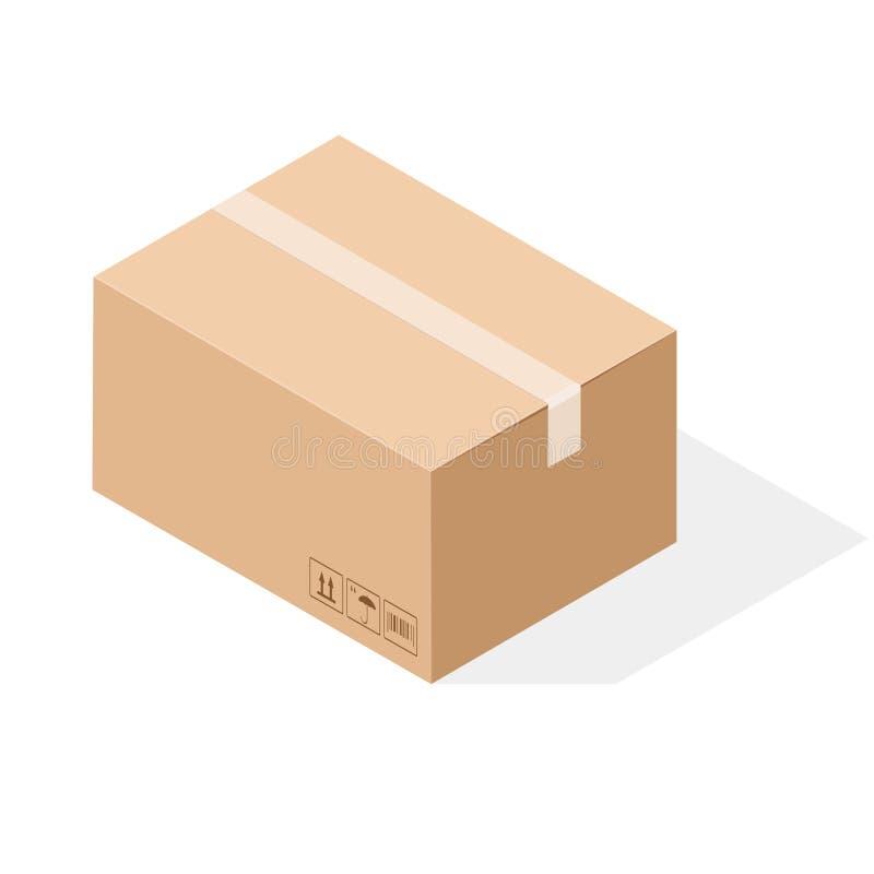Het vakje van het pakpapierkarton met band wordt verzegeld die Isometrische stijl stock illustratie
