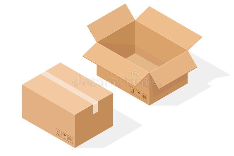 Het vakje van het pakpapierkarton Open en verzegeld, met schaduw Isometrische Vectorillustratie royalty-vrije illustratie