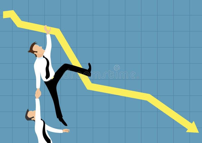 Het vallen onderaan bedrijfsgrafiek vector illustratie