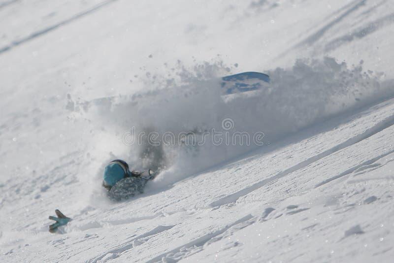 Het vallen van Snowboarder royalty-vrije stock afbeeldingen