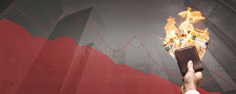 """Het vallen voorraad prijzen†""""brandende Euro rekeningen voor een het dalen grafiek stock afbeeldingen"""