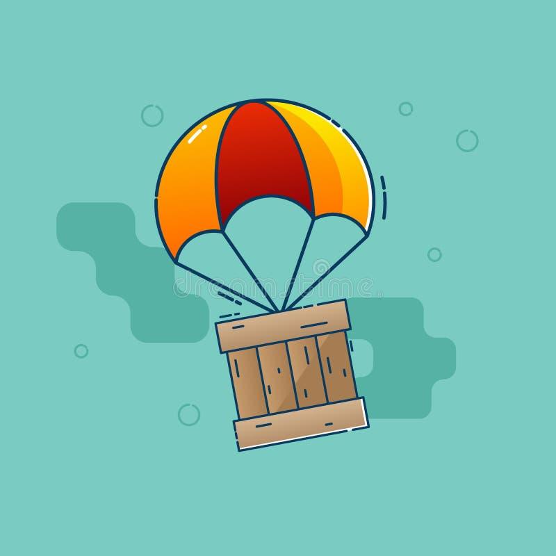 Het valscherm die van het leveringsconcept met houten doos vliegen stock illustratie