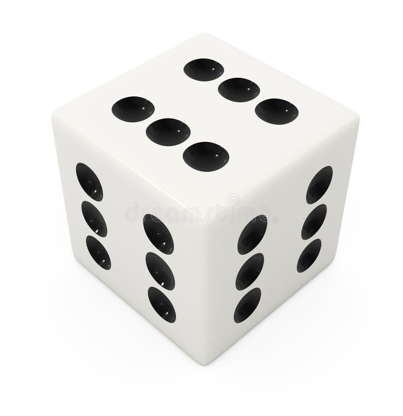 Het valse winnende witte been voor dobbelt spel royalty-vrije illustratie