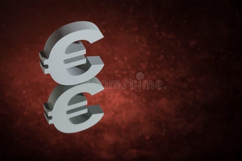Het Valutasymbool of het Teken van de EU met Spiegelbezinning over Rood Dusty Background stock foto's