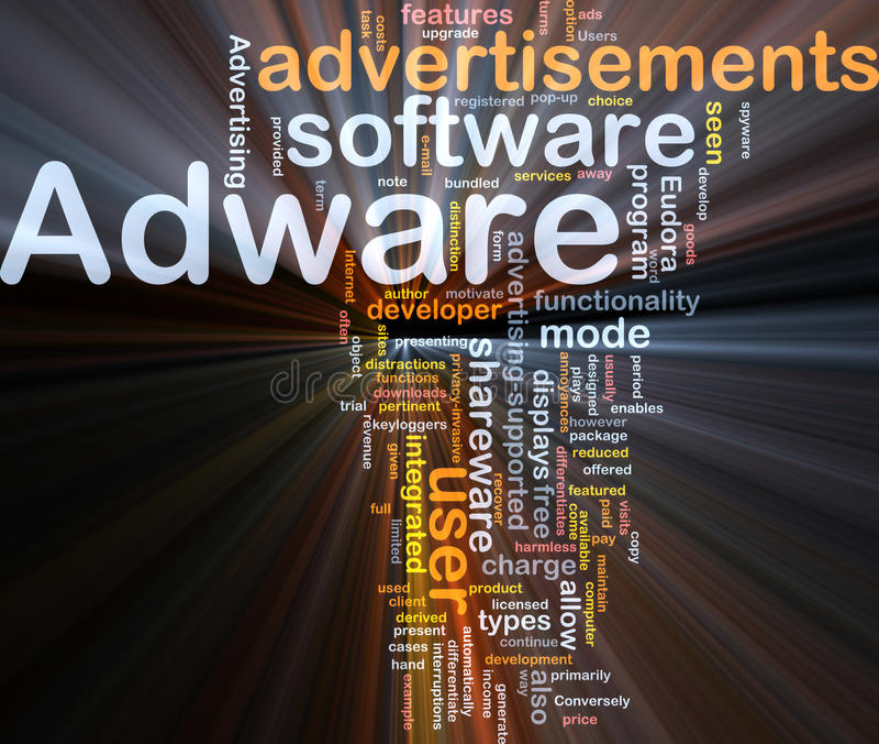 Het van Achtergrond adware concept gloeien stock illustratie