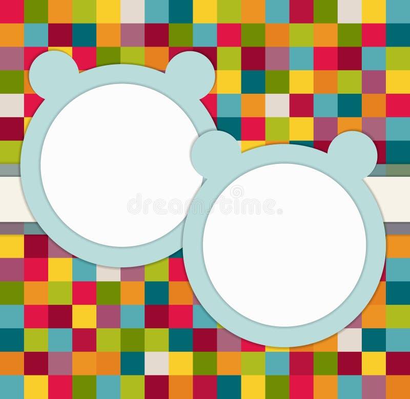 Het van de de Tweelingenbaby van ` s de Kaart van de de Doucheuitnodiging met Blauw draagt stock illustratie