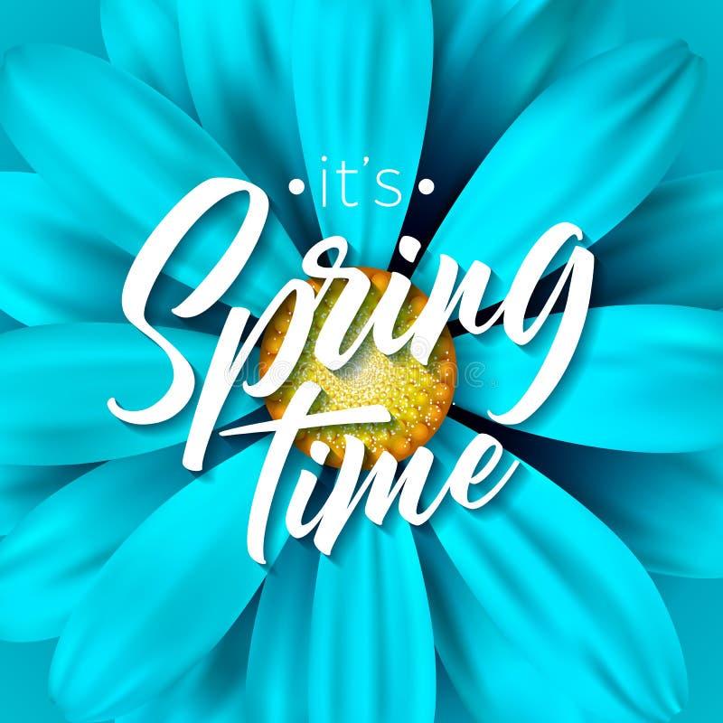 Het van de de lentetijd van ` s de vectorillustratie met mooie kleurrijke bloem op blauwe achtergrond Bloemenontwerpmalplaatje me vector illustratie