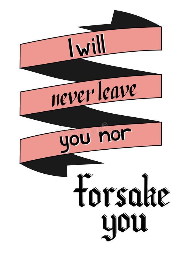 Het van letters voorzien ?ik zal u nooit verlaten noch zal u ?achterlaten vector illustratie
