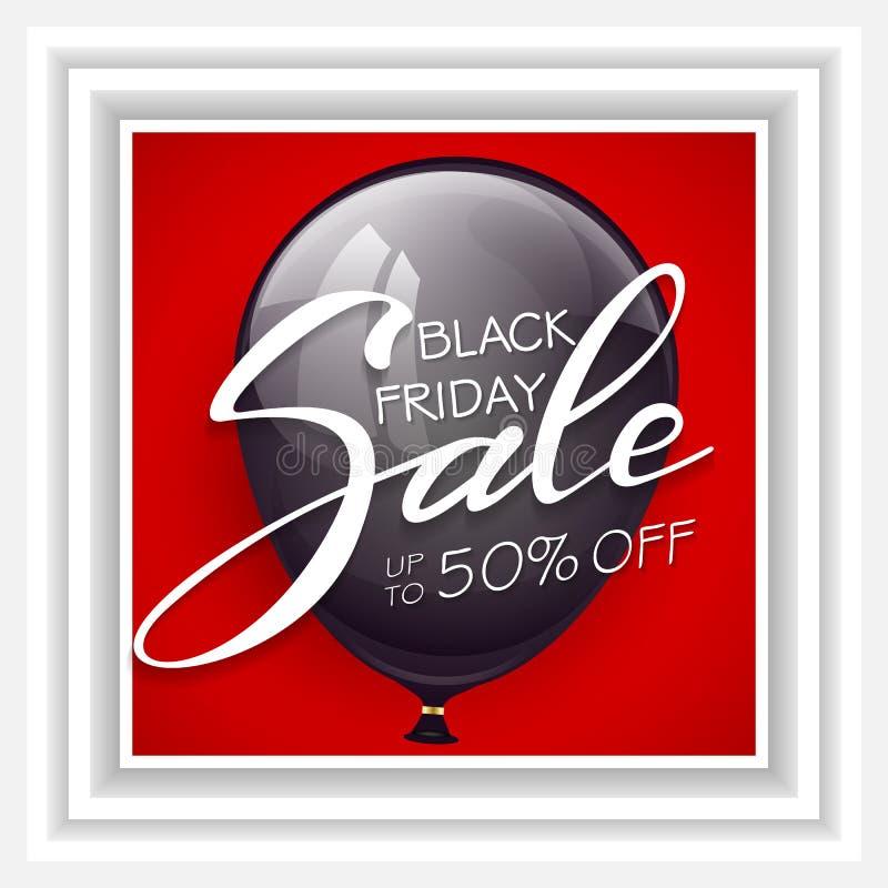 Het van letters voorzien Black Friday Verkoop op ballon stock illustratie
