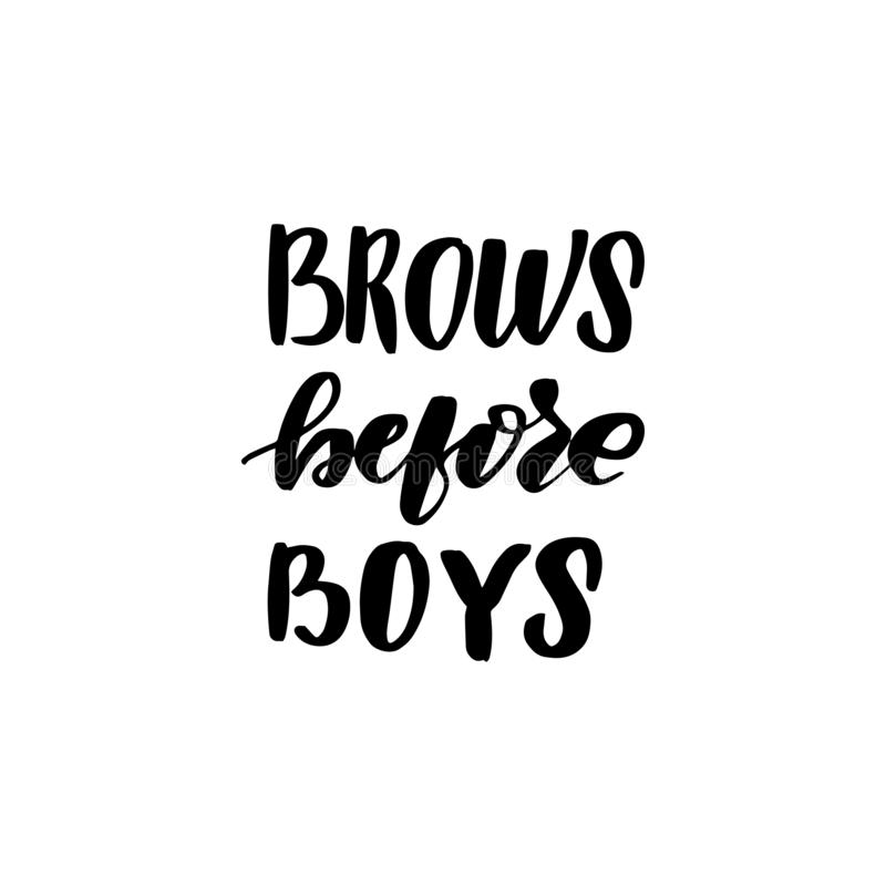 Het van letters voorzien brows vóór jongens royalty-vrije illustratie