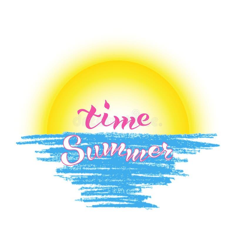 Het van letters voorzien de zomerzonsopgang van de uitdrukkingstijd stock foto