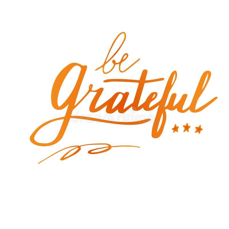 Het van letters voorzien en de kalligrafieontwerp van de dankzeggingshand vector illustratie