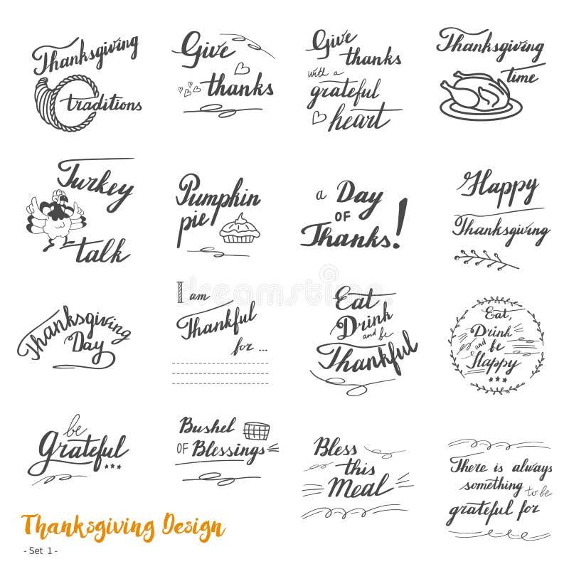 Het van letters voorzien en de kalligrafieontwerp van de dankzeggingshand royalty-vrije illustratie