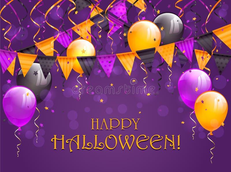 Het van letters voorzien Gelukkig Halloween met wimpels en ballons stock illustratie