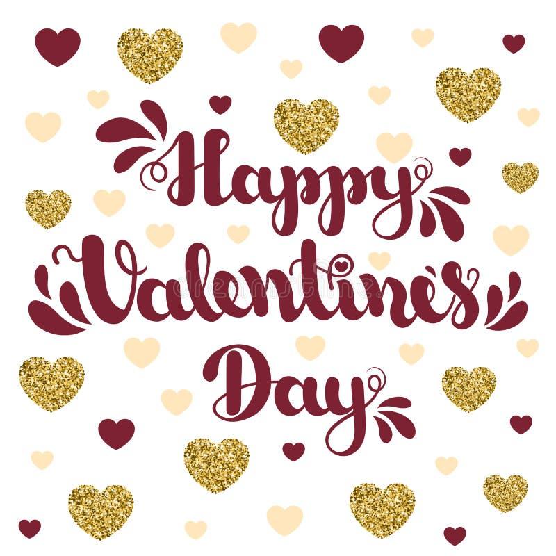 Het van letters voorzien Gelukkige Valentijnskaartendag op achtergrond met harten Vectorillustratie voor de Dag van Valentine ` s stock afbeelding