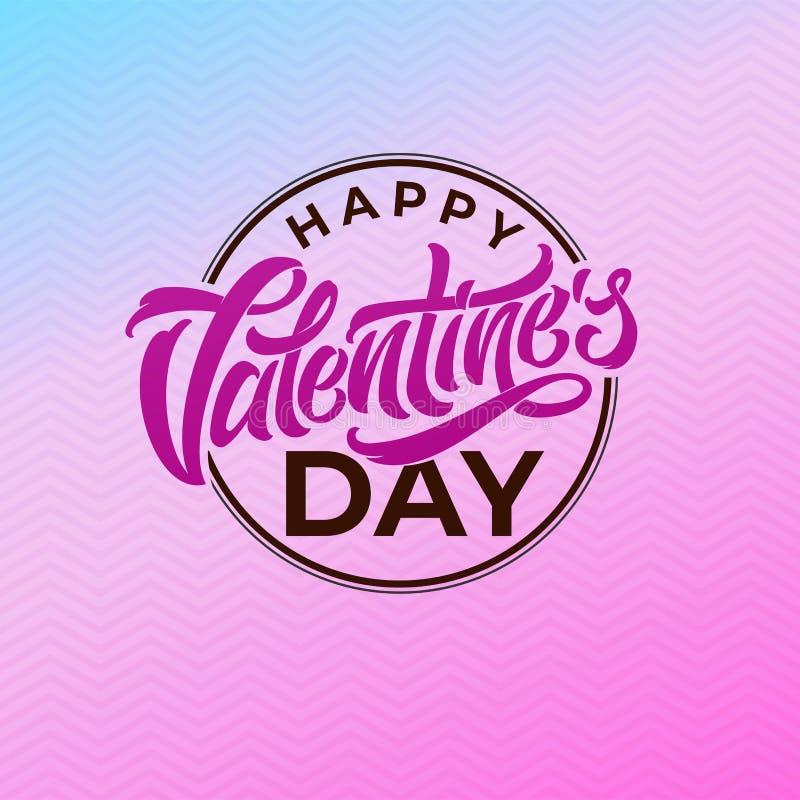 Het van letters voorzien Gelukkige Valentine ` s Dag in de vorm van ronde zegel voor prentbriefkaaren en gelukwensen Het mooie va vector illustratie