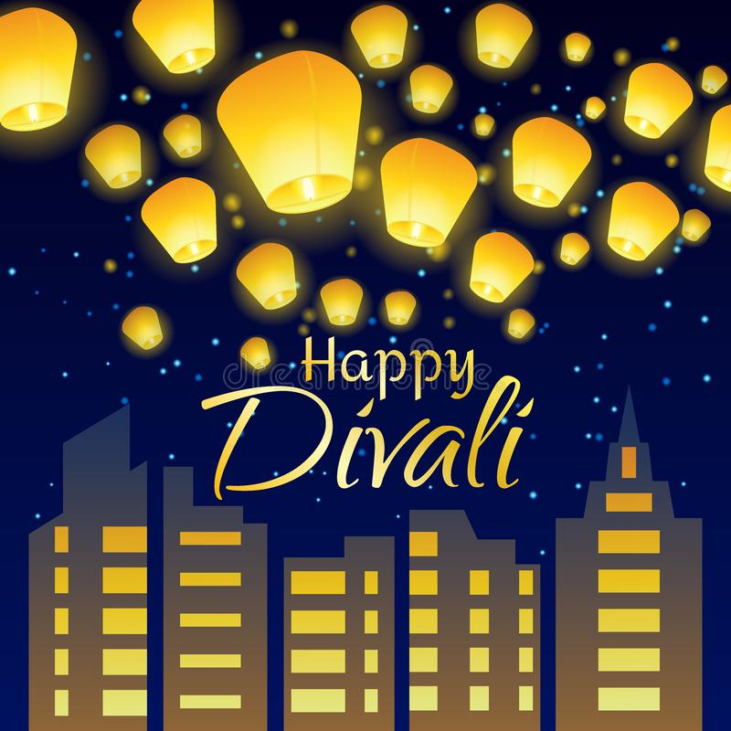 Het van letters voorzien gelukwens gelukkige Divali met document lantaarns en nachtstad royalty-vrije illustratie