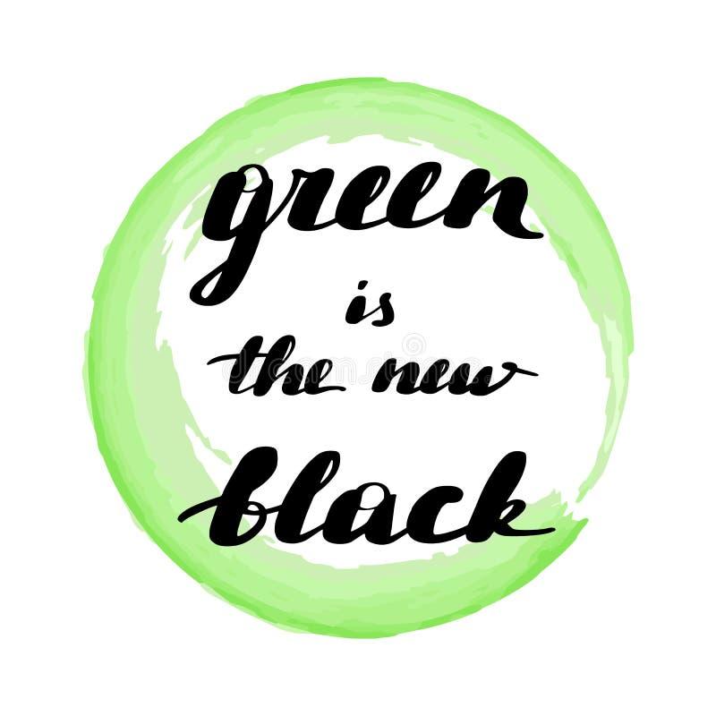 Het van letters voorzien groene de inschrijving is de nieuwe zwarte royalty-vrije illustratie