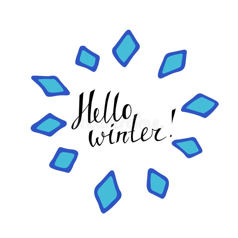 Het van letters voorzien Hello de winter, hand in een blauw rond die kader wordt van rumbs wordt gemaakt geschreven die De Kerstm stock illustratie