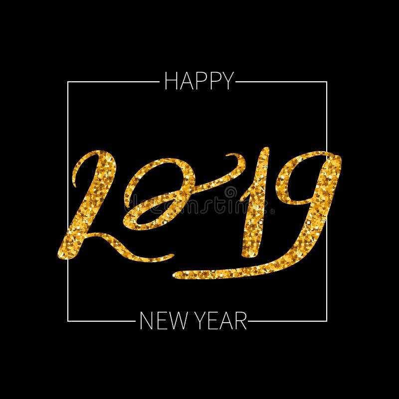 Het van letters voorzien inschrijvings 2019 gelukkige nieuw royalty-vrije illustratie