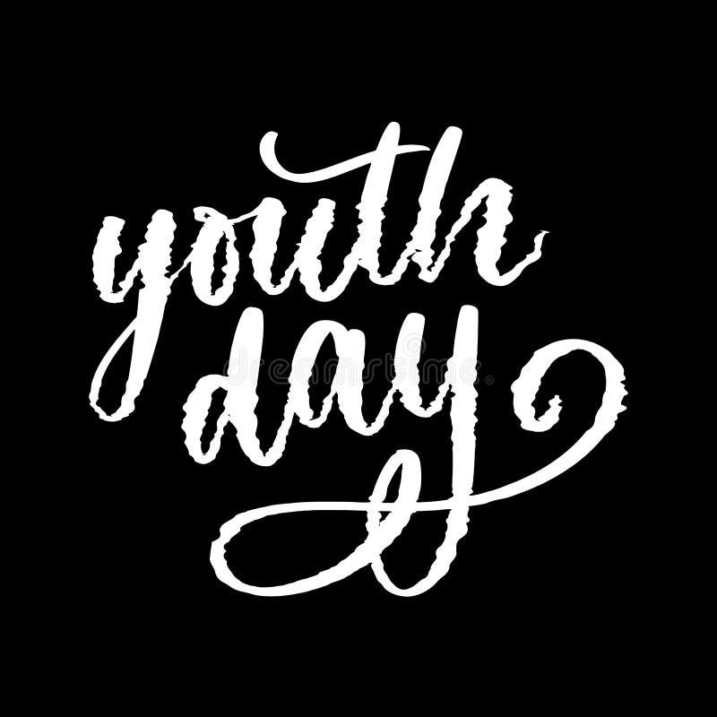 Het van letters voorzien van Internationale van de de achtergrond jeugddag gele sloganglitch vector illustratie