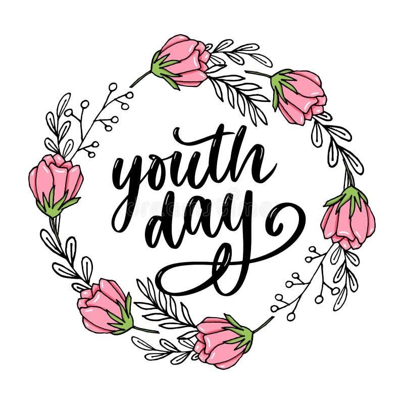 Het van letters voorzien van Internationale de bloem van de de jeugddag slogan als achtergrond royalty-vrije stock foto's