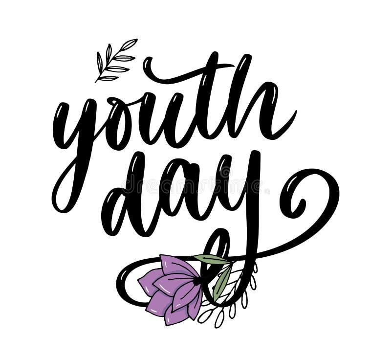 Het van letters voorzien van Internationale van de de jeugddag gele slogan als achtergrond royalty-vrije illustratie