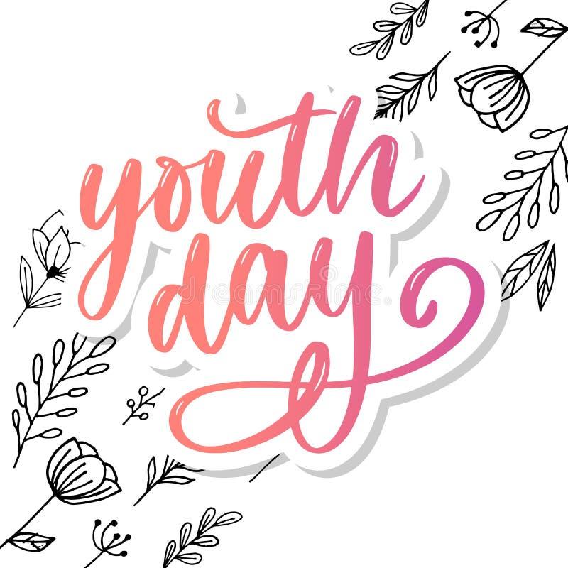 Het van letters voorzien van Internationale van de de jeugddag gele slogan als achtergrond vector illustratie