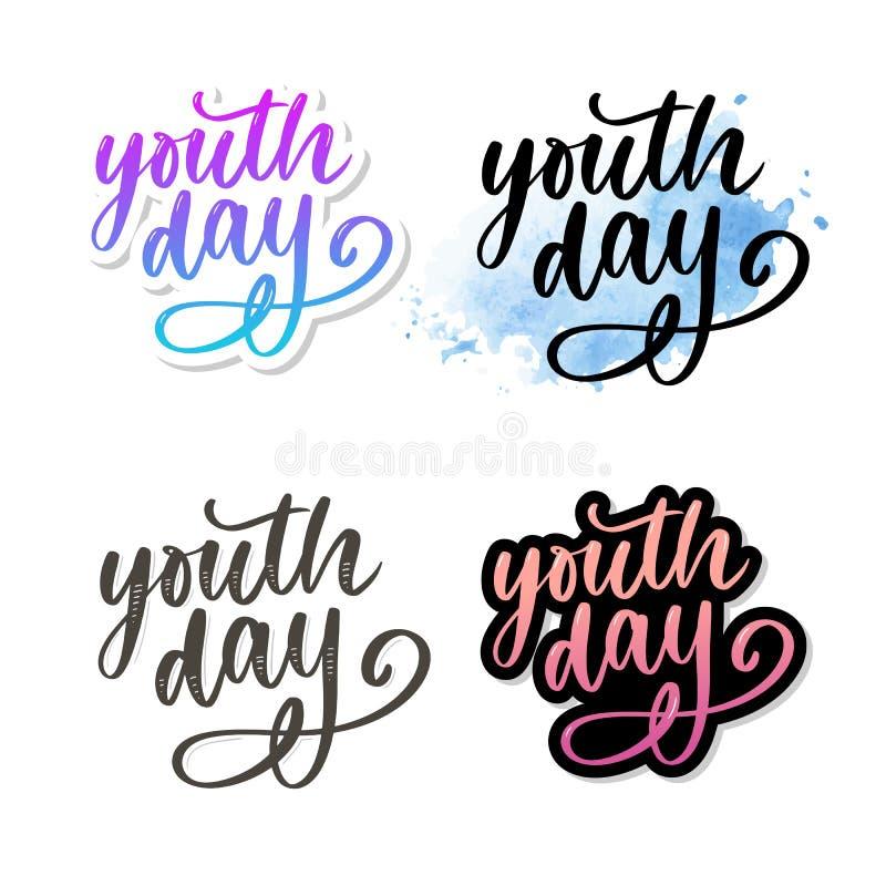 Het van letters voorzien van Internationale van de de jeugddag gele slogan als achtergrond stock afbeeldingen